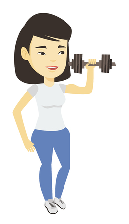 Woman lifting dumbbell vector illustration. Illustration
