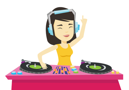 DJ mixing music on turntables vector illustration.