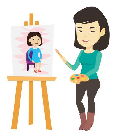 Creative female artist painting portrait.