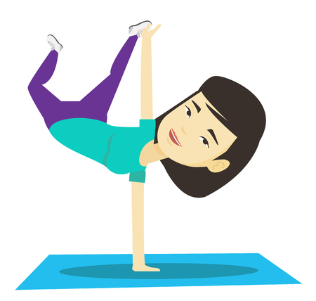 Young woman breakdancing vector illustration.