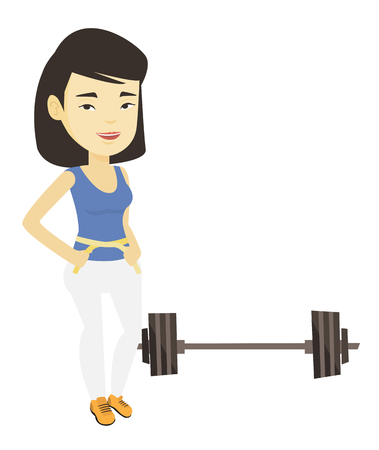 Woman measuring waist vector illustration. 向量圖像