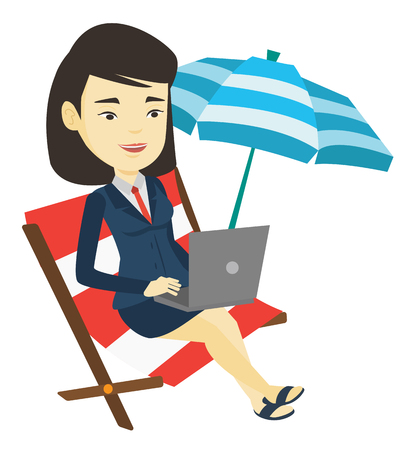vacation with laptop: Business woman working on laptop at the beach. Illustration