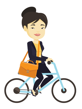 Woman riding bicycle vector illustration. Ilustrace