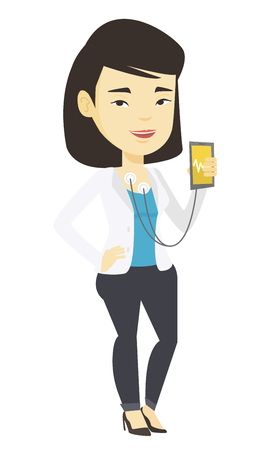 Woman measuring heart rate pulse with smartphone. Ilustracja