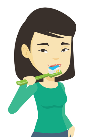 cleanliness: Woman brushing her teeth vector illustration.