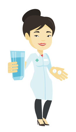 doctor giving glass: Pharmacist giving pills and glass of water. Illustration