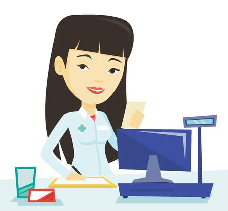 prescription drugs: Pharmacist writing prescription.