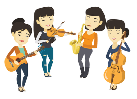 fiddlestick: Band of musicians playing on musical instruments. Illustration