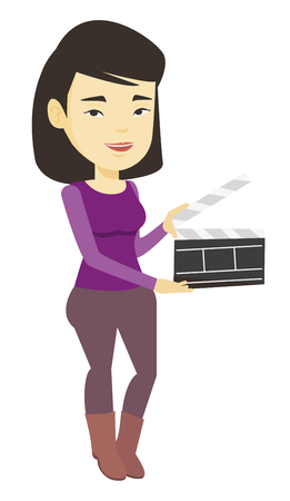 Smiling woman holding an open clapperboard. Illustration