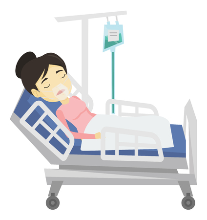 lying in bed: Patient lying in hospital bed with oxygen mask.