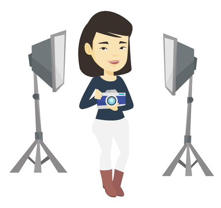 Photographer with camera in photo studio. Illustration