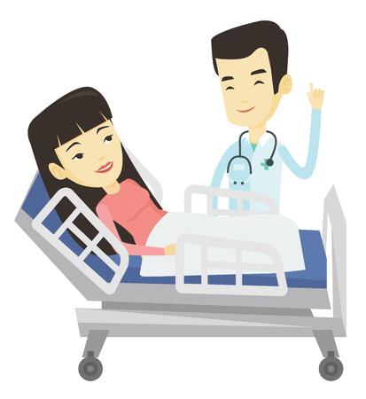 Doctor visiting patient vector illustration. Illustration