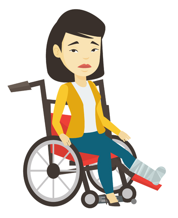 Woman with broken leg sitting in wheelchair. 向量圖像