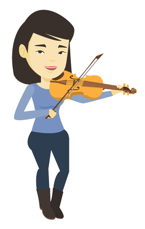 Vrouw spelen viool vector illustratie. Stock Illustratie