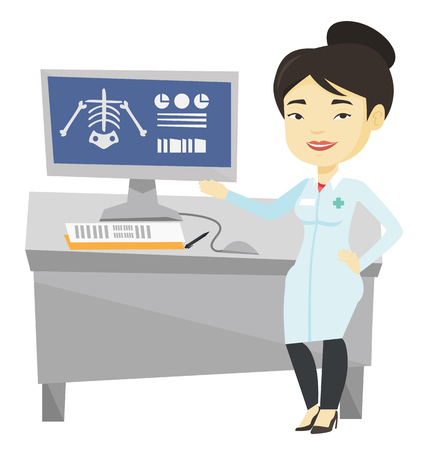 radiograph: Doctor examining radiograph vector illustration.