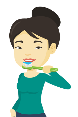 彼女の歯を磨く女性ベクトル イラストです。