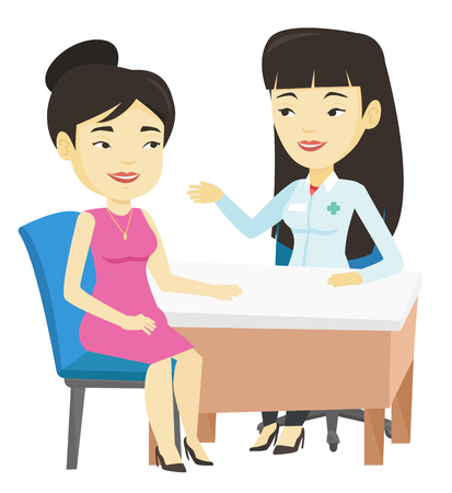 Doctor consulting female patient in office.