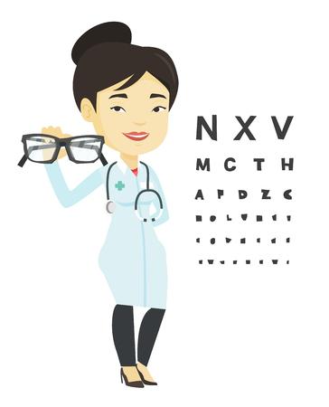 Professionelle Augenarzt hält Brillen.