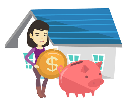 lease: Woman puts money into piggy bank for buying house.