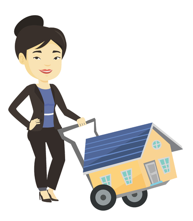 lease: Young woman buying house vector illustration.
