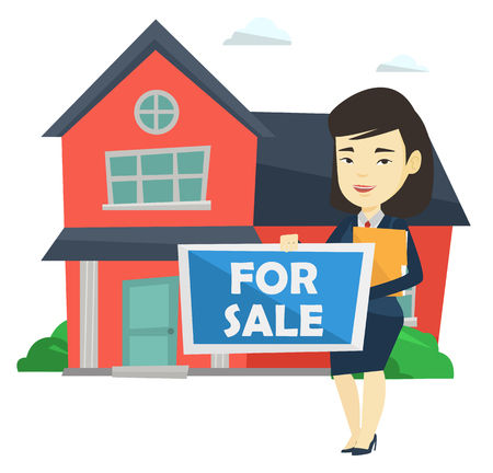 house for sale: Young female offering house. Illustration