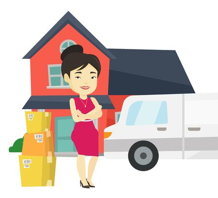 condo: Woman moving to house vector illustration.
