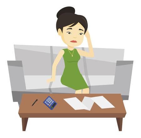 Unhappy asian woman accounting home bills. Illustration