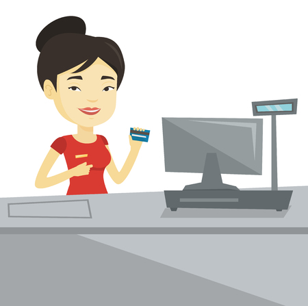 Cashier holding credit card at the checkout. Ilustracja