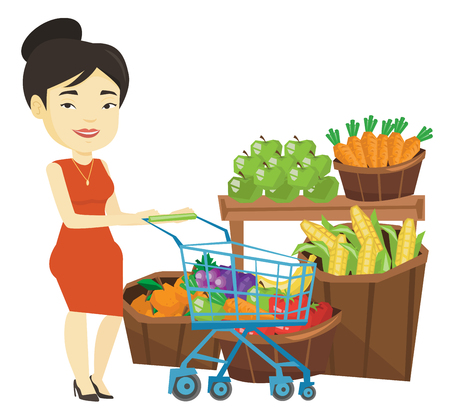 Customer with shopping cart vector illustration. Illustration