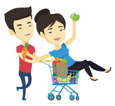 Couple of friends riding by shopping trolley. Vectores