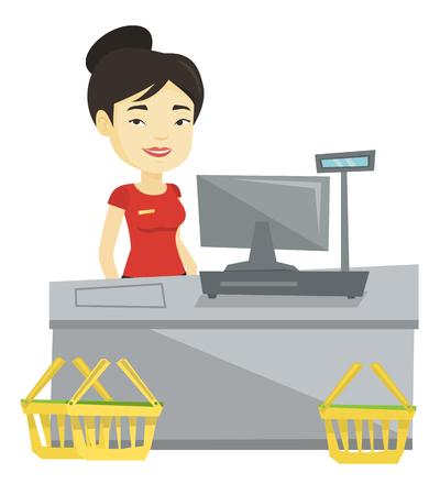 mujer en el supermercado: Cajero de pie en la caja en el supermercado.