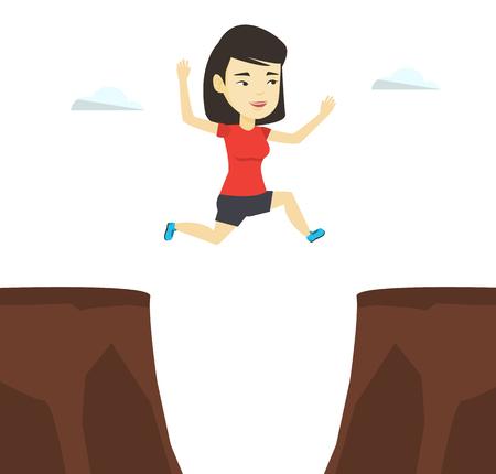 Sportswoman jumping over cliff vector illustration
