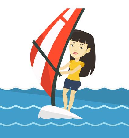 windsurf: Mujer joven windsurf en el mar.
