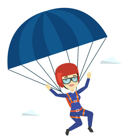 Joven mujer feliz volando con paracaídas.
