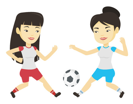 Two female soccer players fighting for ball. Ilustracja