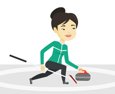 Curling player playing curling on curling rink. Illustration