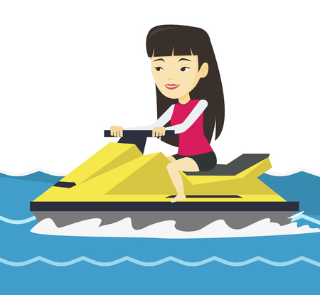 Asian woman training on jet ski in the sea. Illustration