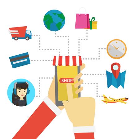 Online shopping vector flat design illustration. Illustration