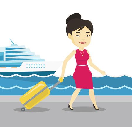 乗客船上に行くスーツケース。