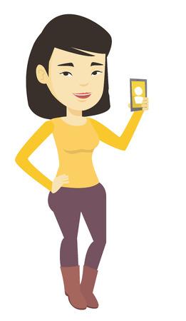 vibrating: Woman holding ringing mobile phone.