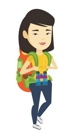 Femme avec sac à dos de randonnée illustration vectorielle.