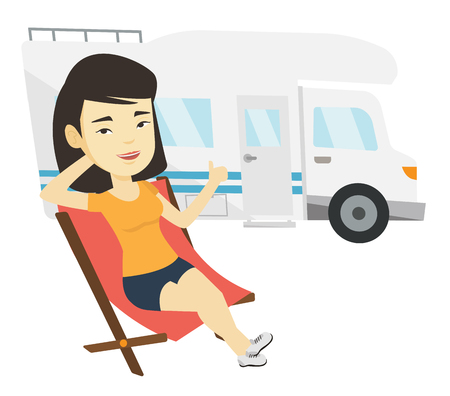 camper: Woman sitting in chair in front of camper van. Illustration