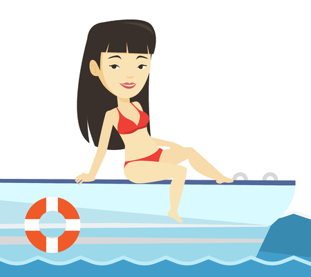 Young happy woman tanning on sailboat. Illustration