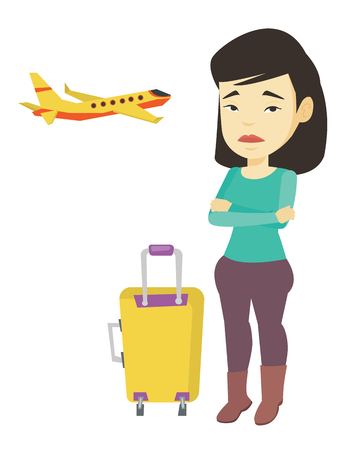 terrified woman: Young asian airplane passenger frightened by future flight. Woman suffering from fear of flying. Terrified passenger waiting for a flight. Vector flat design illustration isolated on white background. Illustration