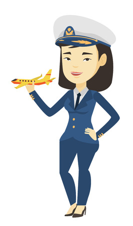 Young asian airline pilot holding model of airplane. Cheerful airplane pilot in uniform. Airplane pilot standing with model of airplane. Vector flat design illustration isolated on white background.