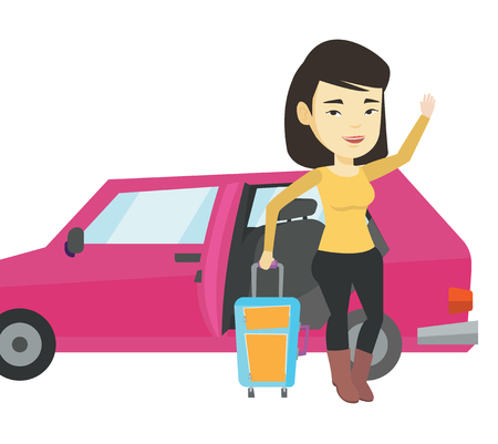 Asian woman standing on the background of open car door. Young happy woman waving in front of car. Happy woman going to vacation by car. Vector flat design illustration isolated on white background.