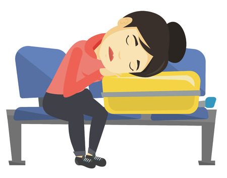 Asian passenger sleeping on luggage in airport. Exhausted woman sleeping on suitcase. Woman waiting for flight and sleeping on suitcase. Vector flat design illustration isolated on white background.