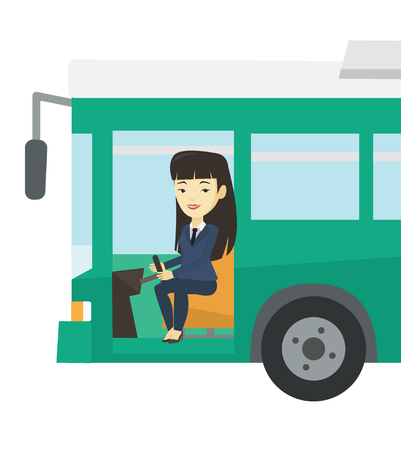 Asian female bus driver sitting at steering wheel. Young driver driving passenger bus. Female bus driver sitting in drivers seat in cab. Vector flat design illustration isolated on white background.