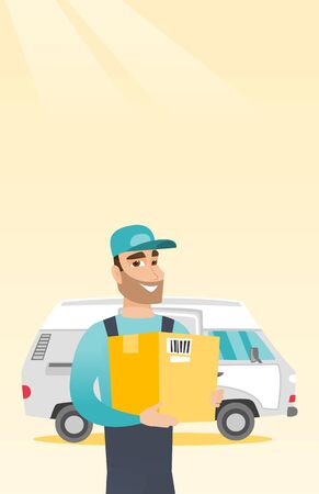 Delivery courier carrying cardboard boxes. Illustration