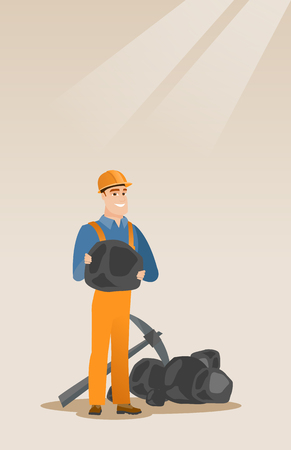 Miner holding coal in hands vector illustration. Illustration